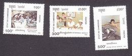 Cambodia, Scott #1115-1117, Mint Hinged, National Festival, Issued 1991 - Cambodge