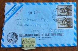 SPORT  PATTINAGGIO SAN JUAN ARGENTINA XIX CAMPIONATO MONDIALE DI HOCHEY 1970 BUSTA SPECIALE PER TRIESTE - Pallamano