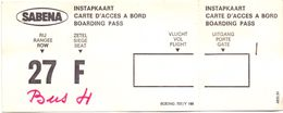 Ticket Instapkaart Carte D'acces - Boarding Pass Sabena Vliegtuig Boeing 707 - Titres De Transport