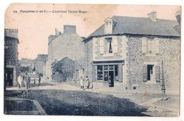 CPA 35 FOUGERES CARREFOUR VICTOR HUGO CAFE COMMERCE  RARE !! - Fougeres