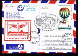 A4826) Polen Poland Luftpostkarte 1981 Poznan Warszawa - Luftpost