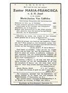 Z 49. Zuster MARIA-FRANCISCA V.d. H. Jozef ( M. VAN LUFFELEN )- Meestetres Buitenzusters - °MOL 1880 /+ST-TRUIDEN 1947 - Images Religieuses