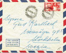 Italy Air Mail Cover Sent To Sweden Venezia 6-9-1954 Single Stamped (the Cover Is Light Bended) - 1946-.. Republiek