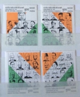 India 1985 Sg 1177 - 1180 Centenary National Congress Set Top 2 MLH Botoom 2 MNH - India