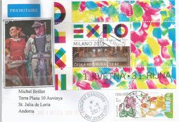 EXPO UNIVERSELLE MILAN, Bloc-feuillet Tchèque (Ceska), Sur Lettre Adressée ANDORRA, Avec Timbre à Date Arrivée - 2015 – Milan (Italy)