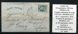 FRANCE- Lettre Du 16 Septembre 1870 De NIMES (29) Pour SAINT GENIEZ (11)- Y&T N°29A - GC 2659 - 1863-1870 Napoleone III Con Gli Allori