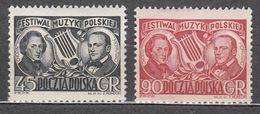 Poland 1951 Mi# 709-710 Composers Chopin Moniuszko  MNH * * - 1944-.... Repubblica