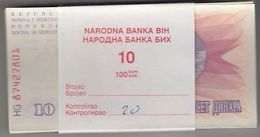 BOSNIE Herzégovine 1992 10 Dinara Bundle 100pcs UNC. Billets P 10 Wholesale - Non Classés