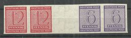 """Sowjetische Zone WZd5 """"12 Und 6 Pfg.Briefmarke (waager.) Aus Großbogen-Herzstück, Geschnitten"""" Postfrisch Mi.: 30,00 &eu - Zone Soviétique"""