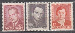 Poland 1952 Mi# 721-723 Labor Party  MNH * * - 1944-.... Republic