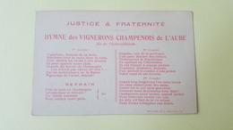 Hymne Des Vignerons Champenois De L'Aube - Révoltes - Cebois Imp. à Bar Sur Aube - France