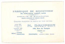 Carte Commerciale Fabrique De Bijouterie, M. Dauphin, Paris 3e, Rue Du Temple - Publicités