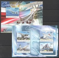 F614 2012 CENTRAFRICAINE AVIATION CONCORDE 1KB+1BL MNH - Airplanes