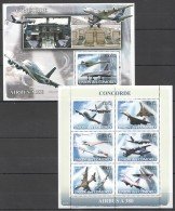 F625 2008 UNION DES COMORES AVIATION CONCORDE AIRBUS A380 1KB+1BL MNH - Airplanes
