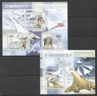 F627 2011 TOGOLAISE AVIATION DU CONCORDE 1KB+1BL MNH - Airplanes