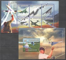 F630 2010 DE GUINEE AVIATION COLLECTIONER LES AVIONS 1KB+1BL MNH - Airplanes