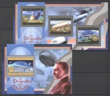 F632 2012 DE GUINEE AVIATION LES DIRIGEABLES DANS LE MONDE ZEPPELIN KB+BL MNH - Zeppelins