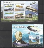 F633 2008 S.TOME E PRINCIPE AVIATION OS DIRIGIVEIS 1KB+1BL MNH - Zeppelins