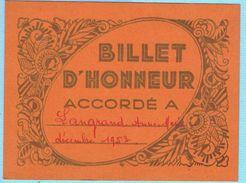 BILLET D'HONNEUR SCOLAIRE DÉCEMBRE 1953 ECOLE DE FILLES PANTIN 93 - Diploma & School Reports