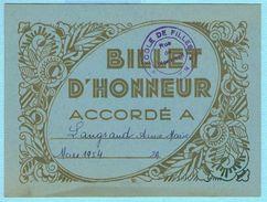 BILLET D'HONNEUR SCOLAIRE MARS 1954 ECOLE DE FILLES PANTIN 93 - Diploma & School Reports