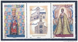 ANDORRA FRANCESA 2007 - HERMANAMIENTO MERITXELL CON SABART - VIRGENES - 2 SELLOS CON VIÑETA CENTRAL - French Andorra