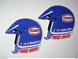 Paris Dakar. - Jacky Ickx. - Claude Brasseur. - 2 Autocollants Texaco (casque). - Automobile - F1