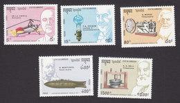 Cambodia, Scott #1218-1222, Mint Hinged, Inventors, Issued 1992 - Cambodia