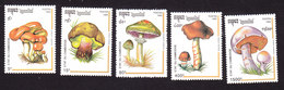 Cambodia, Scott #1242-1246, Mint Hinged, Mushrooms, Issued 1992 - Cambodge