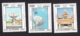Cambodia, Scott #1253-1255, Mint Hinged, National Development, Issued 1992 - Cambodge