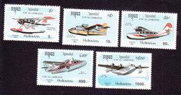 Cambodia, Scott #1247-1251, Mint Hinged, Planes, Issued 1992 - Cambodge