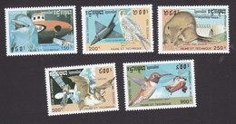 Cambodia, Scott #1259-1263, Mint Hinged, Fauna And Machines, Issued 1993 - Cambodia