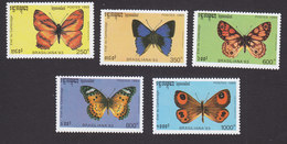Cambodia, Scott #1278-1282, Mint Hinged, Butterflies, Issued 1993 - Cambodia