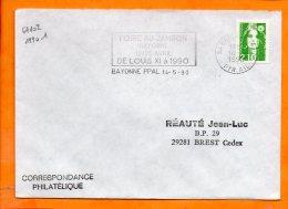 PYRENEES-ATLANTIQUES, Bayonne, Flamme à Texte, Foire Au Jambon; 12-25 Avril 1990 - Oblitérations Mécaniques (flammes)