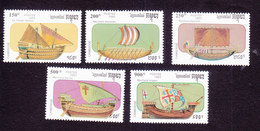 Cambodia, Scott #1290-1294, Mint Hinged, Ships, Issued 1993 - Cambodge