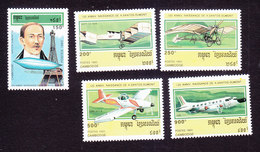 Cambodia, Scott #1295-1299, Mint Hinged, Alberto Santos-Dumont, Issued 1993 - Cambodge
