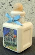 Petit Flacon (style Miniature Parfum) Matière Poreuse Pour Diffuser Les Senteurs, Illustré D'un Tableau De VG - Perfume Miniatures