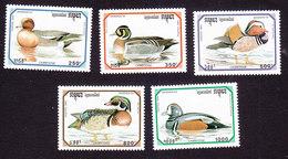 Cambodia, Scott #1306-1310, Mint Hinged, Ducks, Issued 1993 - Cambodge