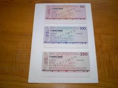 Hollande Florin:travellers Cheque De 50 Gulden, 100 Gulden & 250 Gulden De AMRO BANK .travellers Cheques 1972 - Monnaies & Billets