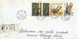 1979 Lettre Avion  Recommandée Pour Les USA    Hippopotame Nain X2, Siège De Chef 150fr, Fl;eurs 30 Fr - Côte D'Ivoire (1960-...)