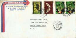1980 Lettre Avion  Pour Les USA    Papillon 70fr, Céphalophe, Flrurs - Ivory Coast (1960-...)
