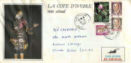 1987  Lettre Avion Pour Les USA Fleurs 200fr, Houphet-Boigny : 5 Fr, 30 Fr, 50 Fr - Côte D'Ivoire (1960-...)