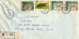 1992 Lettre Avion Recommandée  Pour Les USA  Sculpture 550fr, Animaux Du Zoo: Nandine 40fr, Bongo 150fr X2 - Côte D'Ivoire (1960-...)
