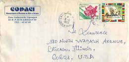 1993  Lettre Pour Les USA  Fleurs 200fr, Marathon 150fr - Côte D'Ivoire (1960-...)