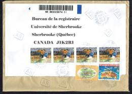 2012  Lettre Recommandée AR Pour Le Canada  Foot éliminatoires 600 Fr + 20 Fr X4, Collège Mermoz 400 Fr + 20 Fr, Oiseau - Côte D'Ivoire (1960-...)