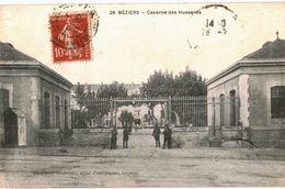 CPA N°7098 - LOT DE 2 CARTES DE BEZIERS - L' ESPLANADE ET CASERNE DES HUSSARDS - MILITARIA - Beziers