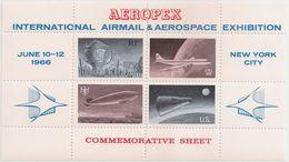 UNITED STATES - Commemorative Sheet - New York City 1966 - Aeropex International AirMail & Aerospace Exhibition, Airplan - United States