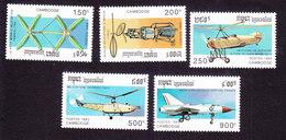 Cambodia, Scott #1312-1316, Mint Hinged, Planes, Issued 1993 - Cambodge