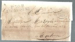Haute Garonne - St Gaudens Pour Toulouse. LAC De 1828 En Port Payé. Désinfection Dans Le Vinaigre - Marcophilie (Lettres)