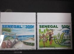 SENEGAL FAUNA SINGE APE MONKEY CIGOGNE POISSON ENVIRONNEMENT DANSE DANCE 2017 MARGIN RARE MNH ** - Senegal (1960-...)