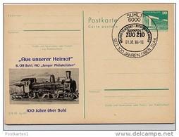 DDR P8435-84 C87 Postkarte Zudruck 100 J. EISENBAHN SUHL Sost. 1984 - Trains